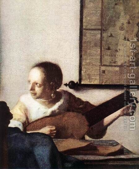 Woman with a Lute near a Window (detail) c. 1663 by Jan Vermeer Van Delft - Reproduction Oil Painting