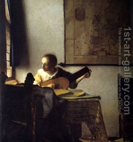 Woman with a Lute near a Window c. 1663 by Jan Vermeer Van Delft - Reproduction Oil Painting