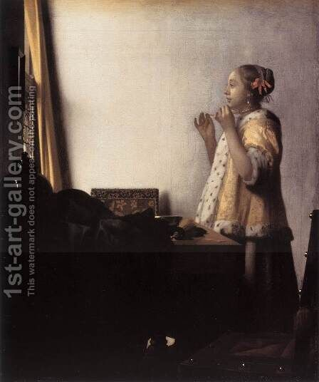 Woman with a Pearl Necklace 1662-64 by Jan Vermeer Van Delft - Reproduction Oil Painting