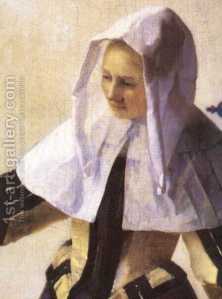 Young Woman with a Water Jug (detail-2) 1660-62 by Jan Vermeer Van Delft - Reproduction Oil Painting