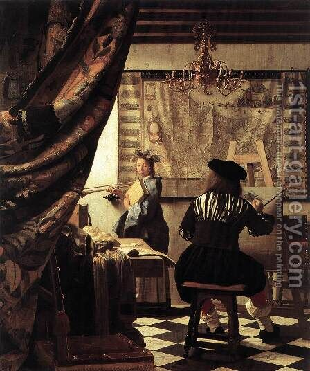 The Artist's Studio 1665 by Jan Vermeer Van Delft - Reproduction Oil Painting
