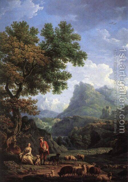 Shepherd in the Alps by Claude-joseph Vernet - Reproduction Oil Painting