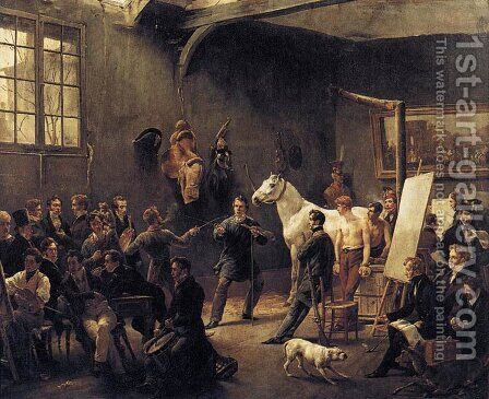 The Artist's Studio c. 1820 by Horace Vernet - Reproduction Oil Painting