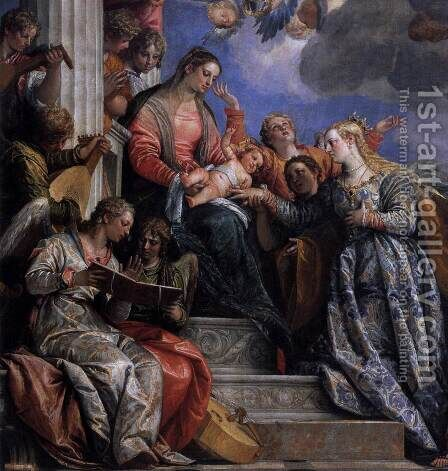 Mystical Marriage of St Catherine (detail-1) c. 1575 by Paolo Veronese (Caliari) - Reproduction Oil Painting