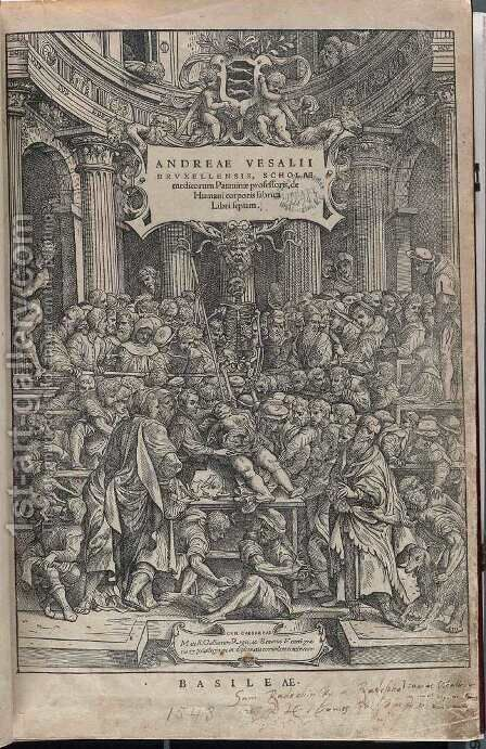 Title page 1543 by Andreas Vesalius - Reproduction Oil Painting