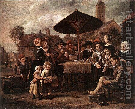 Market Scene with a Quack at his Stall c. 1650 by Jan Victors - Reproduction Oil Painting