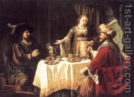 The Banquet of Esther and Ahasuerus 1640s by Jan Victors - Reproduction Oil Painting