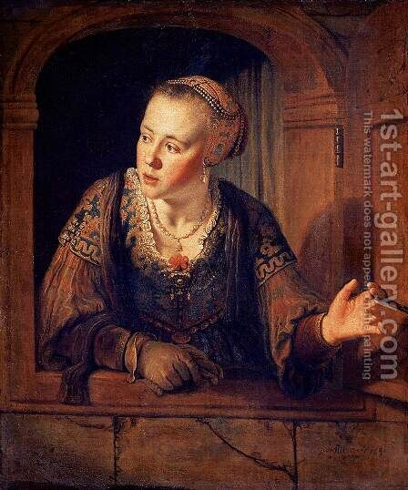 Young Woman at a Window 1640 by Jan Victors - Reproduction Oil Painting