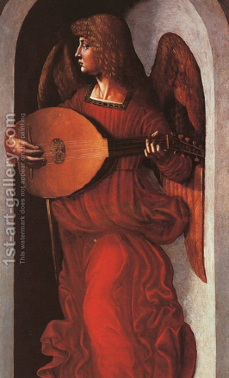 Angel in Red with a Lute 1490 by Associate of Leonardo da Vinci - Reproduction Oil Painting