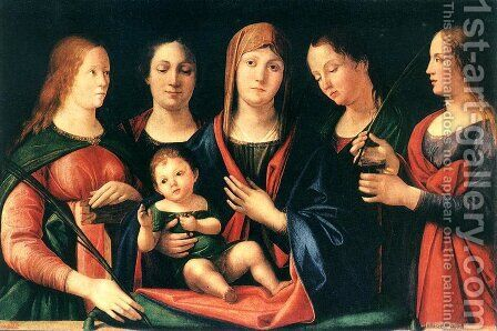 Mary and Child with Sts Mary Magdalene and Catherine 1504 by Alvise Vivarini - Reproduction Oil Painting