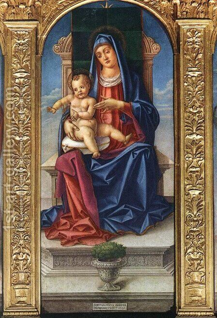 Madonna Enthroned 1482 by Bartolomeo Vivarini - Reproduction Oil Painting