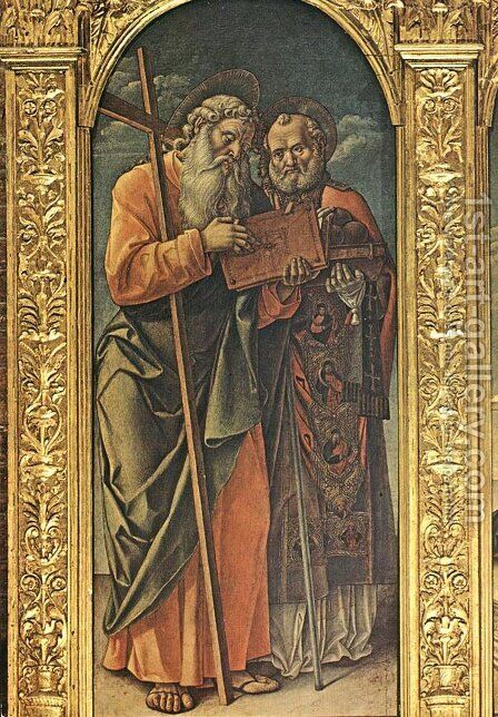 Sts Andrew and Nicholas of Bari 1482 by Bartolomeo Vivarini - Reproduction Oil Painting
