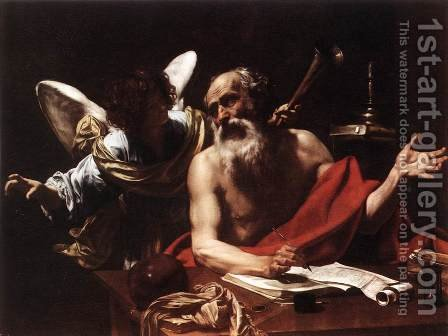 St Jerome and the Angel 1620s by Simon Vouet - Reproduction Oil Painting