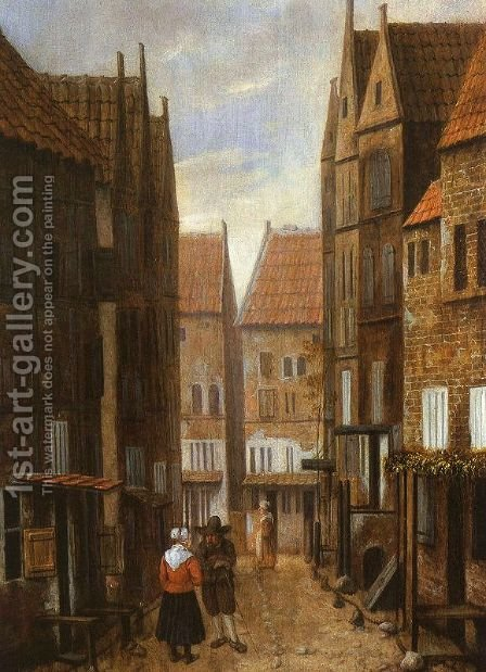 Street Scene with Couple in Conversation by Jacobus Vrel - Reproduction Oil Painting