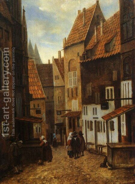 Street Scene with Six Figures by Jacobus Vrel - Reproduction Oil Painting