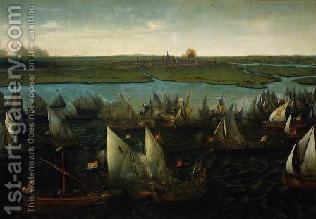 Battle of Haarlemmermeer c. 1621 by Hendrick Cornelisz. Vroom - Reproduction Oil Painting