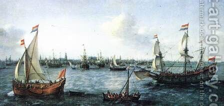 The Harbour in Amsterdam 1630 by Hendrick Cornelisz. Vroom - Reproduction Oil Painting