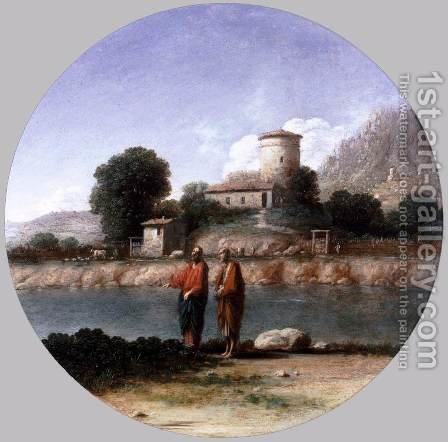 Landscape with Christ and St Peter by Goffredo Wals - Reproduction Oil Painting