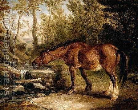 A Horse Drinking at a Stream 1838 by James Ward - Reproduction Oil Painting
