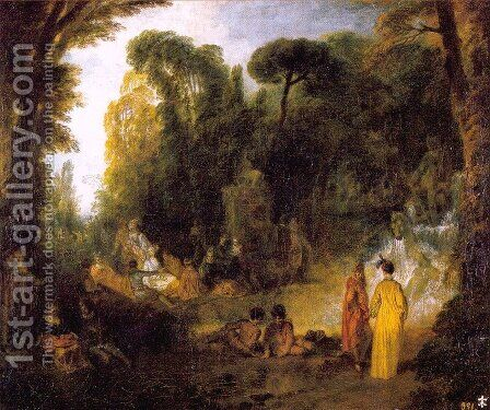 Gathering by the Fountain of Neptune 1714 by Jean-Antoine Watteau - Reproduction Oil Painting