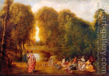 Gathering in a Park 1718 by Jean-Antoine Watteau - Reproduction Oil Painting