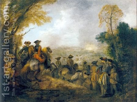On the March 1710 by Jean-Antoine Watteau - Reproduction Oil Painting
