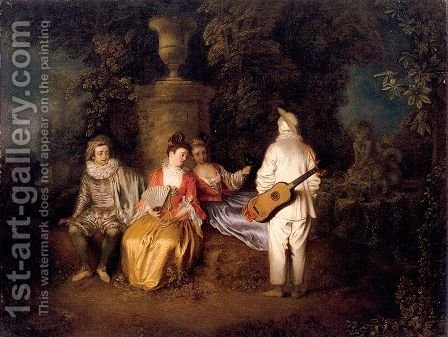 Party of Four 1713 by Jean-Antoine Watteau - Reproduction Oil Painting