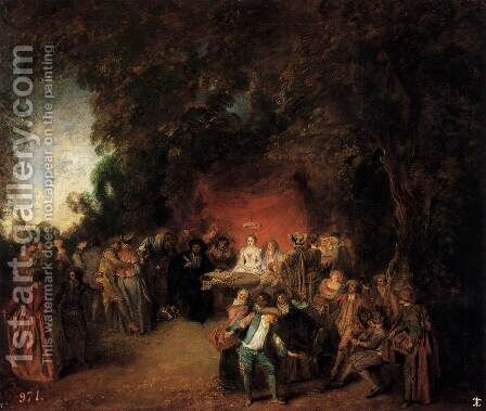 The Marriage Contract 1713 by Jean-Antoine Watteau - Reproduction Oil Painting