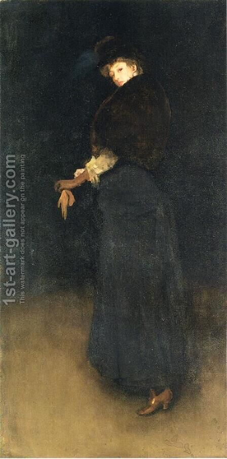 Arrangement in Black- The Lady in the Yellow Buskin- Portrait of Lady Archibald Campbell  1882-84 by James Abbott McNeill Whistler - Reproduction Oil Painting