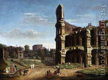 Rome- A View of The Colosseum by Caspar Andriaans Van Wittel - Reproduction Oil Painting