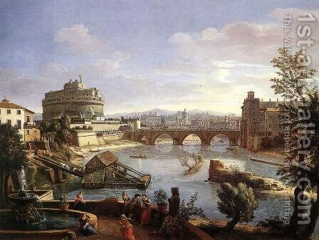 The Castel Sant'Angelo from the South 1690s by Caspar Andriaans Van Wittel - Reproduction Oil Painting
