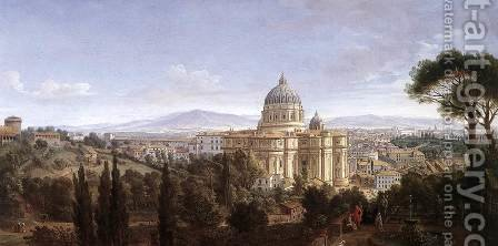 The St Peter's in Rome c. 1711 by Caspar Andriaans Van Wittel - Reproduction Oil Painting