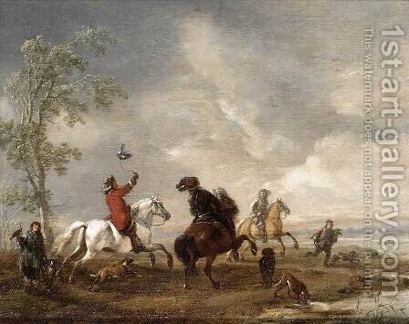 A Hawking Party c. 1651 by Philips Wouwerman - Reproduction Oil Painting