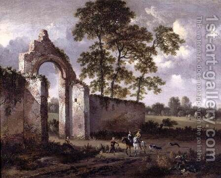 Landscape with a Ruined Archway by Jan Wynants - Reproduction Oil Painting