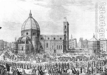 Florence Cathedral 1754 by Giuseppe Zocchi - Reproduction Oil Painting