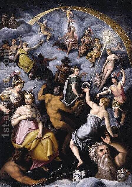 The Assembly of the Gods 1575-76 by Jacopo Zucchi - Reproduction Oil Painting