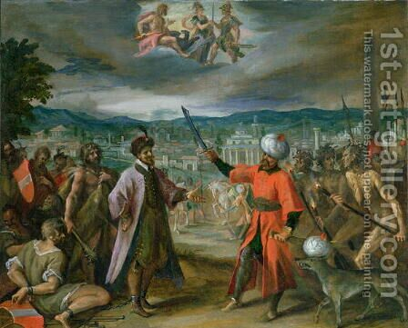 Allegory of the Turkish Wars- The Declaration of War at Constantinople, 1603-04 by Hans Von Aachen - Reproduction Oil Painting