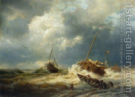 Ships in a Storm on the Dutch Coast 1854 by Andreas Achenbach - Reproduction Oil Painting