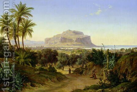 View of Palermo with Mount Pellegrino by August Wilhelm Julius Ahlborn - Reproduction Oil Painting