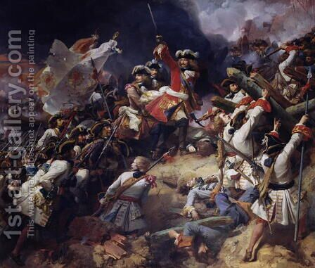 Battle of Denain, 24th July 1712,  1839 by Jean Alaux - Reproduction Oil Painting