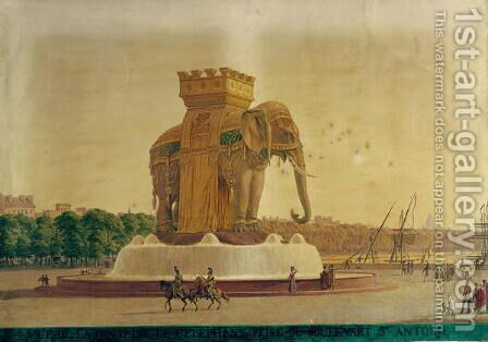 View of the Elephant Fountain at the Place de la Bastille c.1805-1810 by Jean Antoine Alavoine - Reproduction Oil Painting