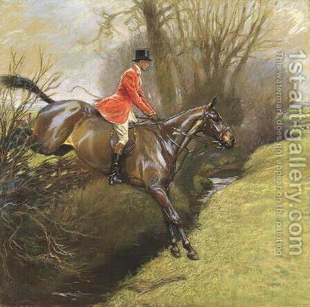 Ted Lyon Jumping a Hedge by Cecil Charles Aldin - Reproduction Oil Painting