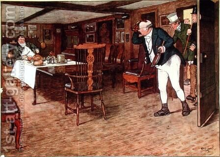 Mr Pickwick finds Mr Tupman having lunch at the Leather Bottle, Cobham  (illustration to 'Pickwick Papers') by Cecil Charles Aldin - Reproduction Oil Painting