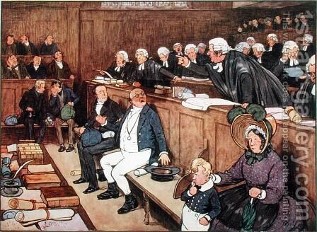The Trial of Mr Pickwick  (scene from 'Pickwick Papers') by Cecil Charles Aldin - Reproduction Oil Painting