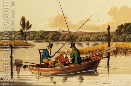 Fishing in a Punt, aquatinted by I. Clark, pub. by Thomas McLean, 1820 by Henry Thomas Alken - Reproduction Oil Painting