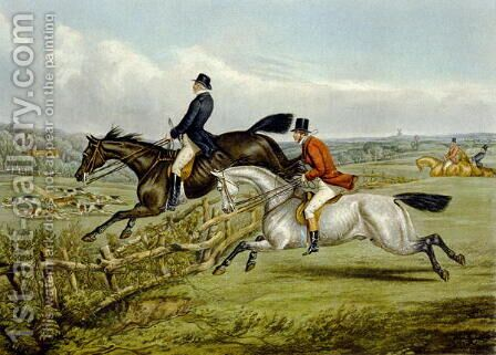 Jumping, plate from 'The Right and The Wrong Sort', in Fores Hunting 1859 by Henry Thomas Alken - Reproduction Oil Painting