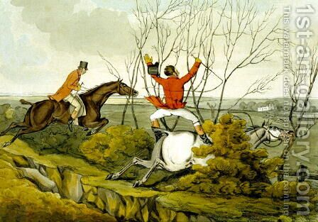 Plunging Through the Hedge, from 'Qualified Horses and Unqualified Riders', 1815 by Henry Thomas Alken - Reproduction Oil Painting
