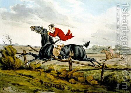 Straight Through the Fence, from 'Qualified Horses and Unqualified Riders', 1815 by Henry Thomas Alken - Reproduction Oil Painting