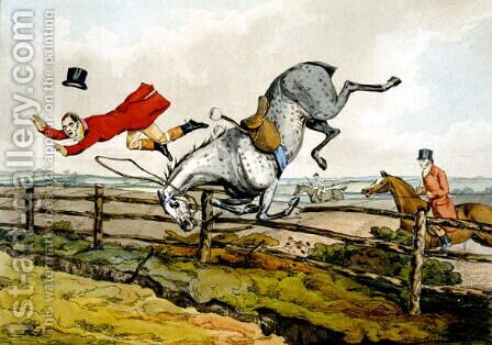 Taking a Tumble, from 'Qualified Horses and Unqualified Riders', 1815 by Henry Thomas Alken - Reproduction Oil Painting