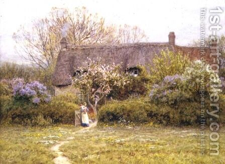 Cottage, Freshwater, Isle of Wight by Helen Mary Elizabeth Allingham, R.W.S. - Reproduction Oil Painting